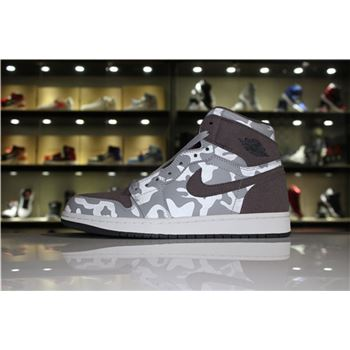 Newest Air Jordan 1 Retro High Camo Pack Wolf Grey/Dark Grey-White