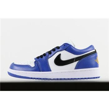 New Air Jordan 1 Low Hyper Royal/White-Orange Peel 553558-401