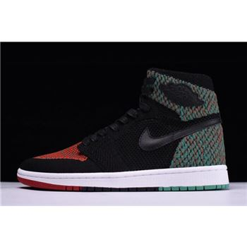 Air Jordan 1 Retro High Flyknit BHM Black/Lucid Green/University Red-Black AA2426-026