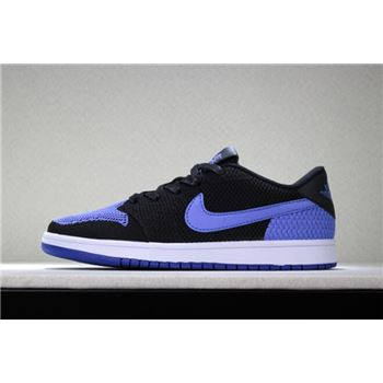 New Air Jordan 1 Low Flyknit Royal Black/Game Royal-White Men's Basketball Shoes