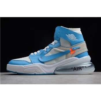 Off-White x Nike Air Force 270 x Air Jordan 1 High UNC White/Dark Powder Blue-Cone