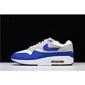 Men's and Women's Nike Air Max 1 OG Anniversary Royal White/Game Royal-Neutral Grey 908375-101