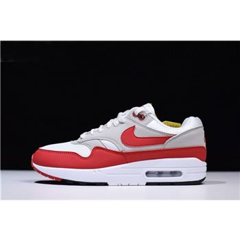 Men's and Women's Nike Air Max 1 OG Anniversary White/University Red-Neutral Grey-Black 908375-103