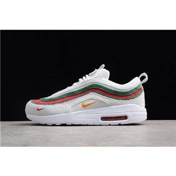Men's and Women's Nike Air Max 1/97 VF SW White/Red-Green AJ4219-163