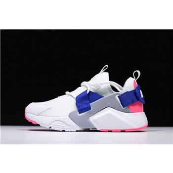 Nike Women's Air Huarache City Low White/Hot Punch-Loyal Blue AH6804-101