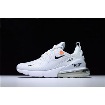 Mens and WMNS Off-White x Nike Air Max 270 Triple White Running Shoes For Sale