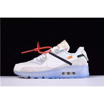 Mens and WMNS Virgil Abloh's OFF-WHITE x Nike Air Max 90 Ice The Ten AA7293-100