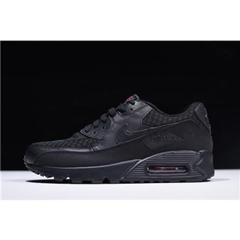 Nike Air Max 90 Essential Black/Metallic Silver-Red 537384-084 For Sale