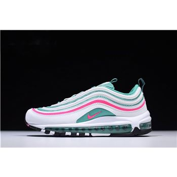 Mens and WMNS Nike Air Max 97 South Beach White/Pink Blast-Kinetic Green-Black 921826-102