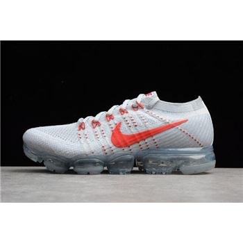 Nike Air VaporMax Flyknit Pure Platinum/University Red-Wolf Grey 849558-006