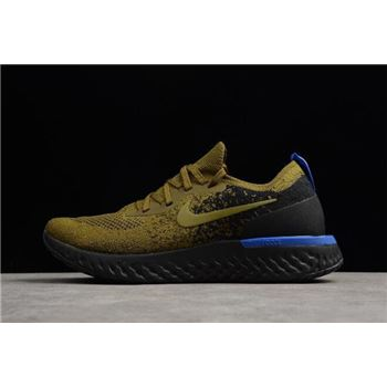 Men's Nike Epic React Flyknit Deep Green Gold/Black-Blue AQ0067-301