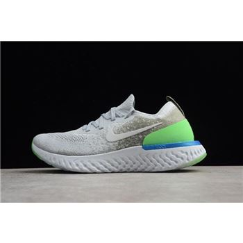 Nike Epic React Flyknit Light Grey/Green-Blue Running Shoes AQ0067-008