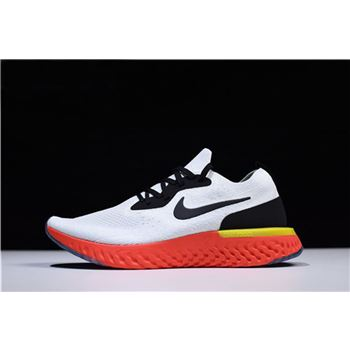 Nike Epic React Flyknit True White/Black-Pure Platinum-Bright Crimson-Volt AQ0067-103