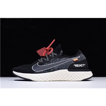 Off-White x Nike Epic React Flyknit Black/White Men's Size AQ0067-010