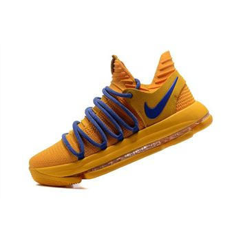 Nike KD 10 Warrior Yellow/Blue Basketball Shoes Free Shipping