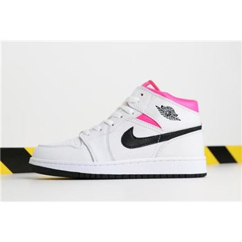 Air Jordan 1 Mid GS Hyper Pink White/Black-Hyper Pink 555112-106