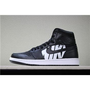 Off-White x Air Jordan 1 Nike Swoosh Black/White Men's Size 555088-801