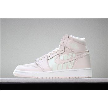 Men's and Women's Off-White x Air Jordan 1 Nike Swoosh Pink White 575441-801