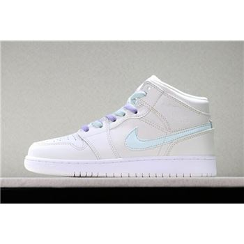 Girls Air Jordan 1 Mid Candy Phantom/Purple Rise/Blue Tint/Igloo 555112-035