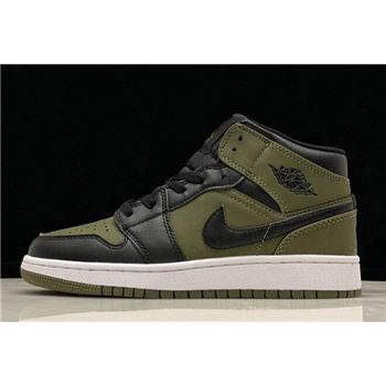 Air Jordan 1 Mid GS Olive Canvas/Black-White 554725-301