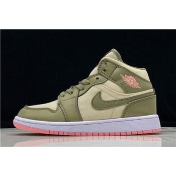 2018 Air Jordan 1 Mid GS Trooper/Bleached Coral/Light Orewood Brown 555112-225