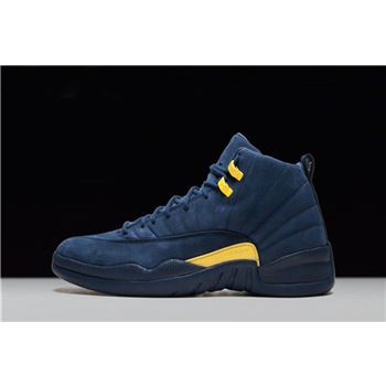 PSNY x Air Jordan 12 Michigan PE College Navy/Amarillo BQ3180-407