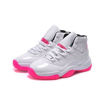Women's Air Jordan 11 GS White Pink Black Shoes For Sale