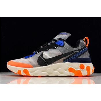 Nike React Element 87 Wolf Grey/Thunder Blue-Total Orange-Black AQ1090-004