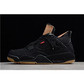 2018 Levi's x Air Jordan 4 Denim Black/Gum For Sale