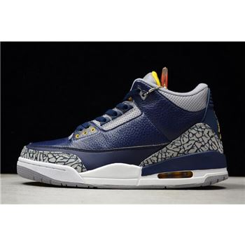 Air Jordan 3 Retro Michigan PE Collegiate Navy/Amarillo-Cement Grey AJ3-820064