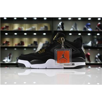 Mens and Womens Air Jordan 4 Retro Royalty Black/Metallic Gold-White 308497-032