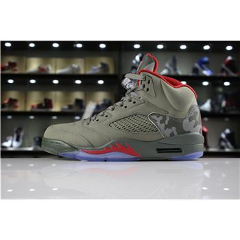 Mens and Womens Air Jordan 5 Camo Dark Stucco/University Red 136027-051