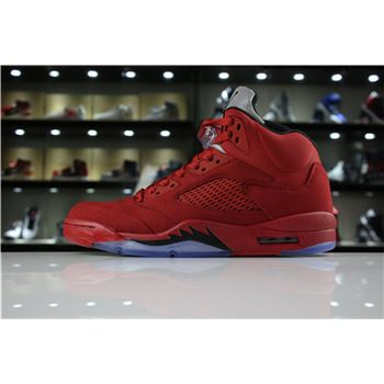 Mens Air Jordan 5 Red Suede University Red/Black 136027-602