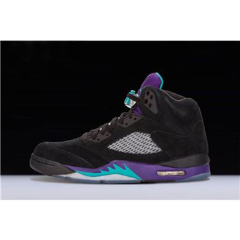 New Air Jordan 5 Retro Black Grape Black/New Emerald-Grape Ice 136027-007