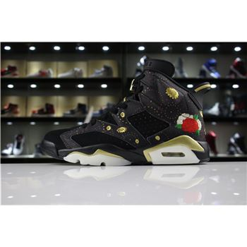 Mens Air Jordan 6 CNY Black/Multi-Color/Summit White-Metallic Gold For Sale