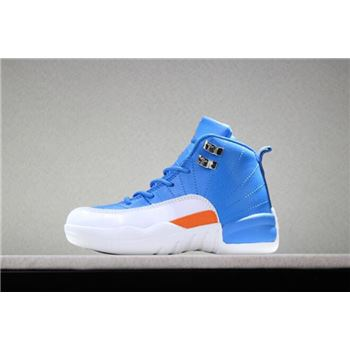 Kid's Air Jordan 12 Blue/White-Orange PE