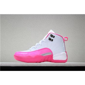Kid's Air Jordan 12 Valentine's Day White/Dynamic Pink-Metallic Silver