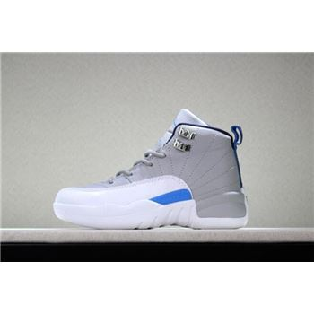 Kid's Air Jordan 12 Wolf Grey/University Blue-White For Sale